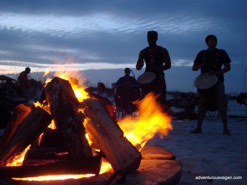 Drumming to the Bonfire on the Beach