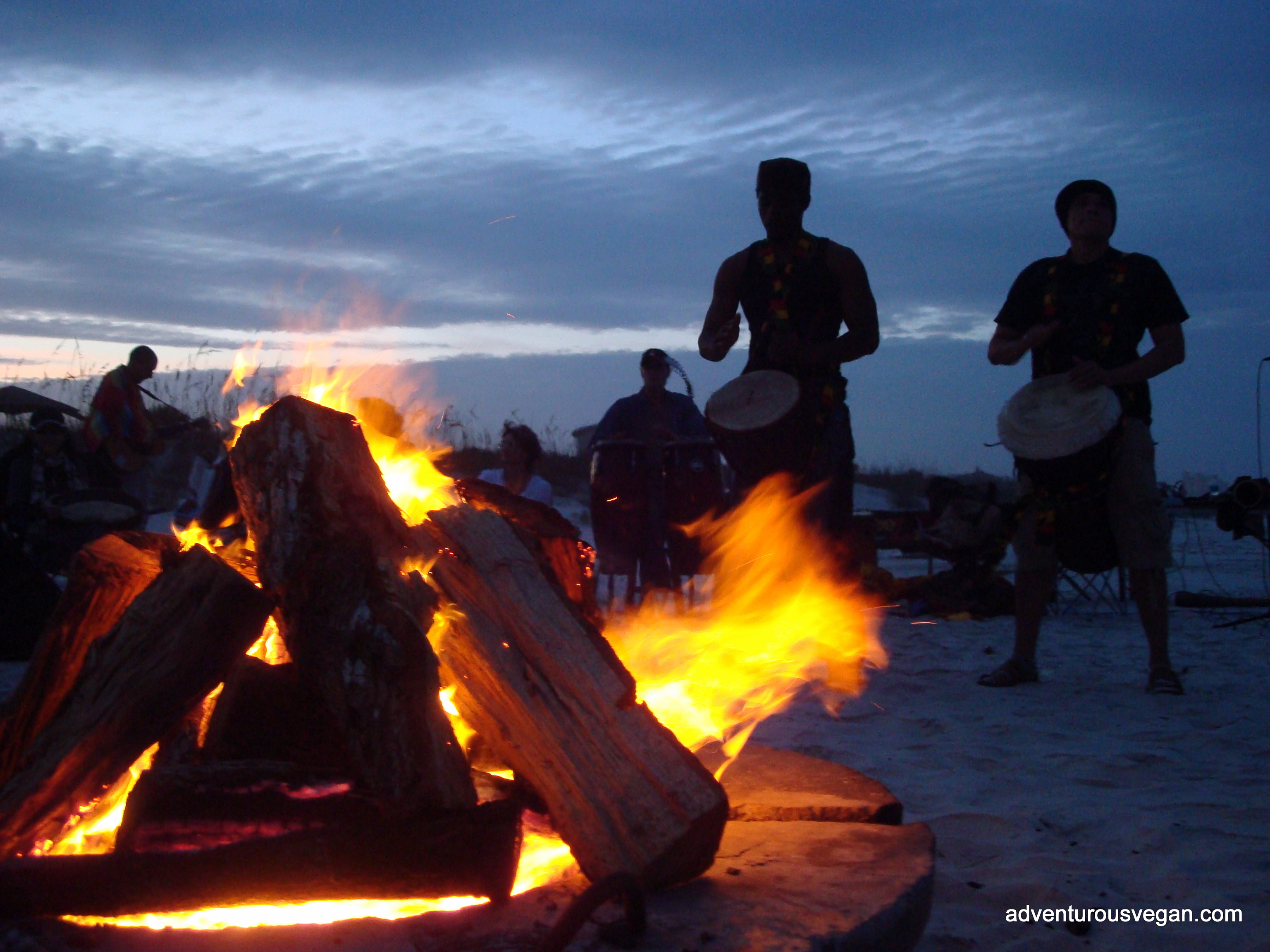Night Beach Bonfire Party